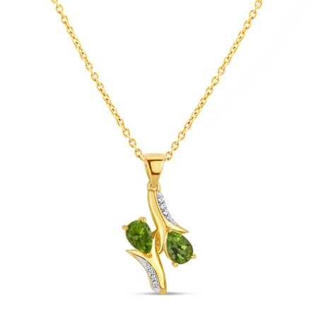 18k Gold over Sterling Silver Peridot and White Topaz Bypass Pendant Necklace 18 Inches ()