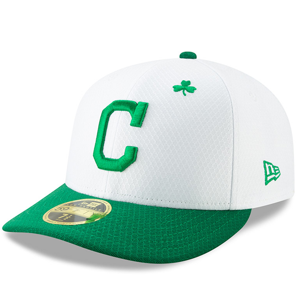 Cleveland Indians New Era 2019 St. Patrick's Day On-Field Low Profile 59FIFTY Fitted Hat - White/Kelly Green