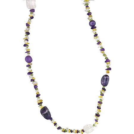 Genuine Amethyst and Simulated Peridot Citrine Crystal Chip (Peridot Amethyst Necklace)