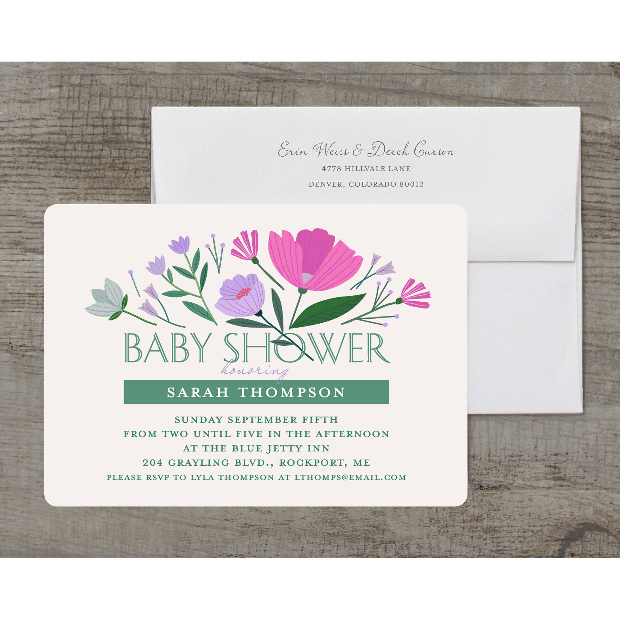 Floral Burst Deluxe Baby Invitation