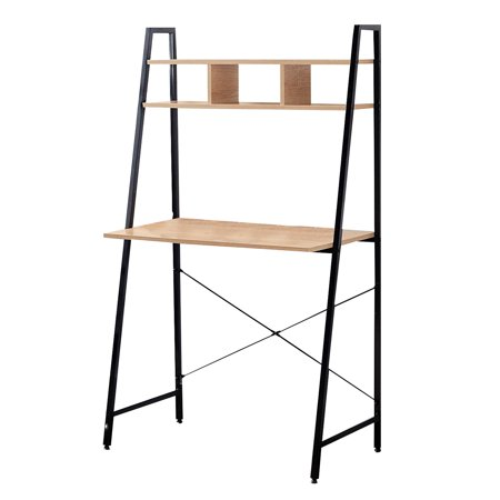 Above Office Sets - Offex Japson Home Office Black Ladder Steel Frame Desk with Bookcase Above