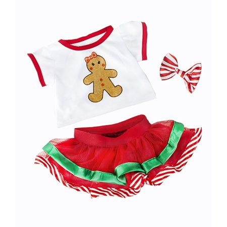Gingerbread Teddy - Gingerbread Teddy Bear Clothes Outfit Fits Most 14