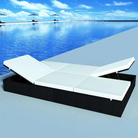 vidaXL Double Sun Lounger with Cushion 76