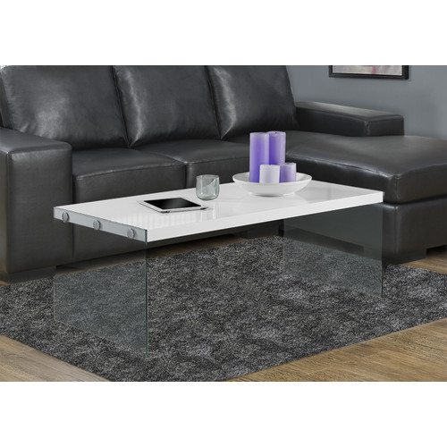 Coffee Table - Tempered Glass Cocktail Table-Finish:Glossy White