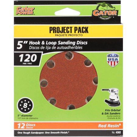 Gator Grit 5-Inch 8-Hole Hook And Loop Sanding Discs, 120 Grit, 12-Pack - Milwaukee Sanding Disc