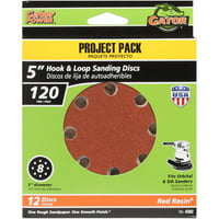 Gator Grit 5-Inch 8-Hole Hook And Loop Sanding Discs, 120 Grit, 12-Pack