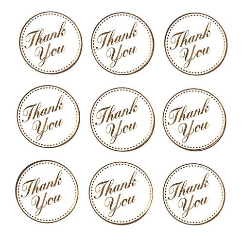 thank you wedding foil seal stickers, 1-inch, 24-count