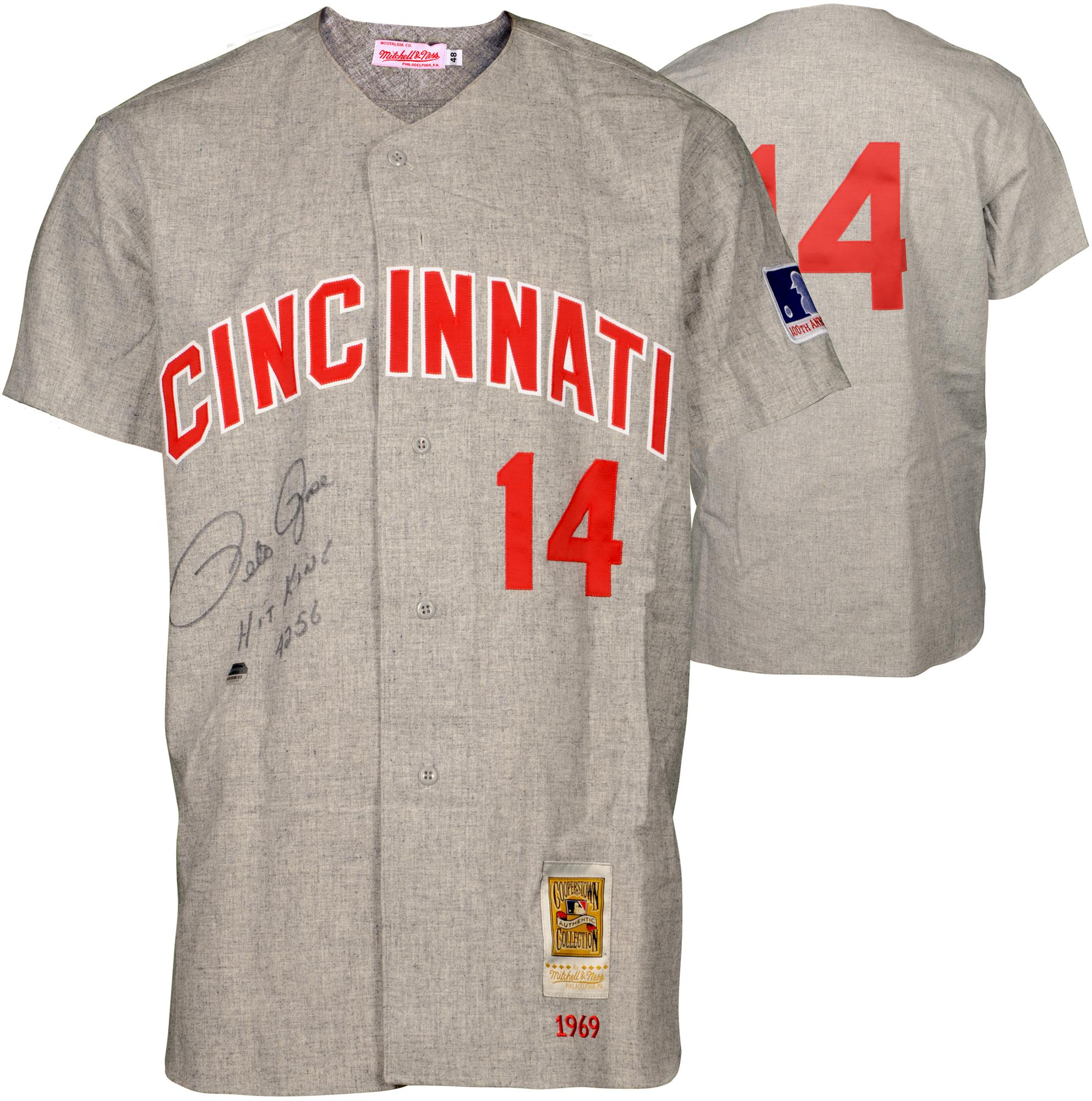 Pete Rose Cincinnati Reds Autographed Mitchell & Ness Gray Jersey with Hit King 4256 Inscription - Fanatics Authentic Certified
