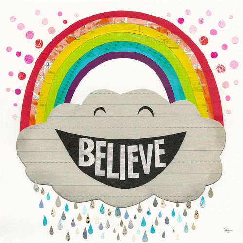 Oopsy Daisy - Believe Rainbow Canvas Wall Art 24x24, Shelley Lane Kommers