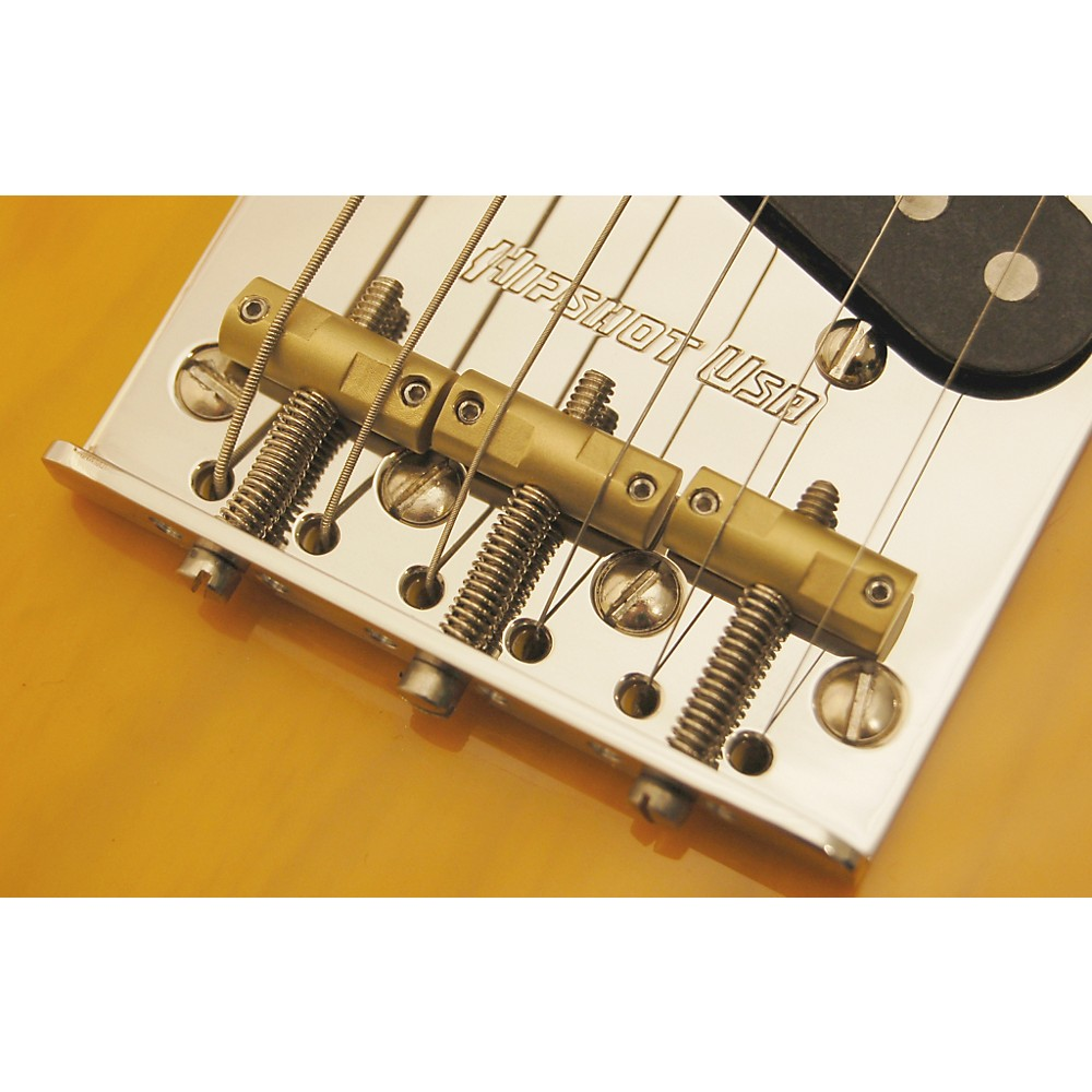 Hipshot Stainless Steel Tele Bridge 4-Hole Mount With Compensated Saddles Chrome
