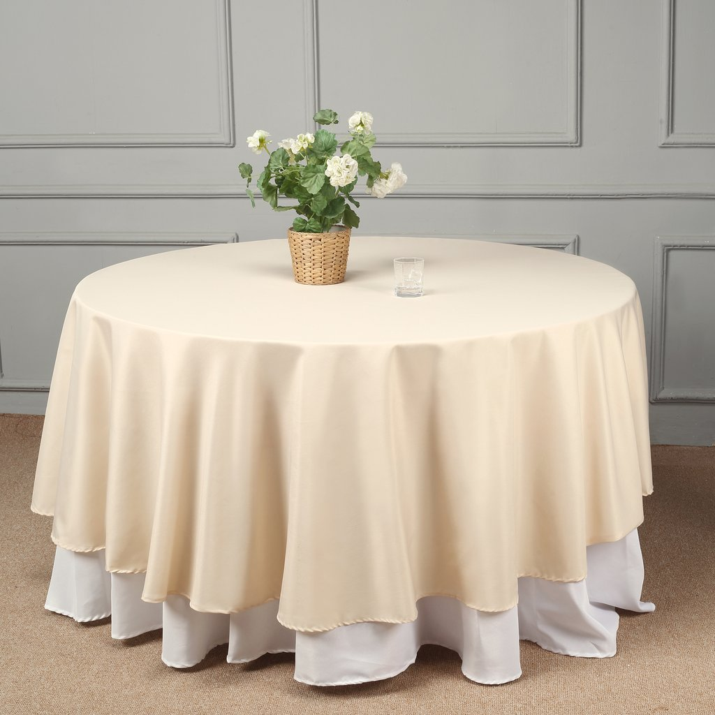 "Efavormart 108"" Round Polyester Tablecloth for Kitchen Dining Catering Wedding Birthday Party Decorations Events"