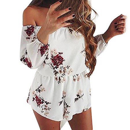 Fancyleo Women Off Shoulder Printed Beach Jumpsuit Ladies Beach Romper Trousers
