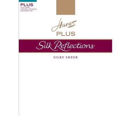 0d242c4c1 Hanes Silk Reflections Women`s Plus Sheer Control Top Enhanced Toe  Pantyhose