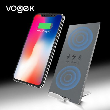 purchase cheap e3e32 5e5f0 VOGEK Dual Coil Wireless Charger & Phone Charging Stand, Quick Charge for  iPhone 8 iPhone X Samsung S9 S8 7.5W 10W Fast Charging Pad Silicone