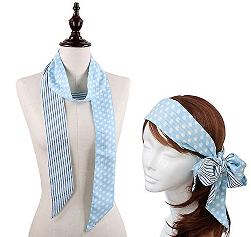 Stylesilove Stripe and Dot Headband Skinny Scarf, 4 Colors (Blue/White)