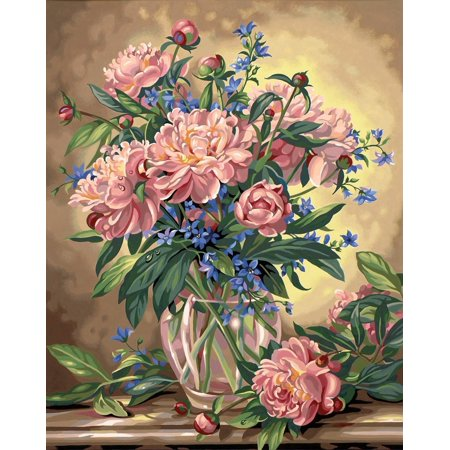 Paintworks Paint By Number, Peony Floral, Includes high-quality acrylic paints By Dimensions Needlecrafts