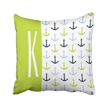 WinHome Square Throw Pillow Covers Popular Lime Green Light Blue Navy Nautical Anchors Customizable Pillowcases Polyester 18 X 18 Inch With Hidden Zipper Home Sofa Cushion Decorative Pillowcase