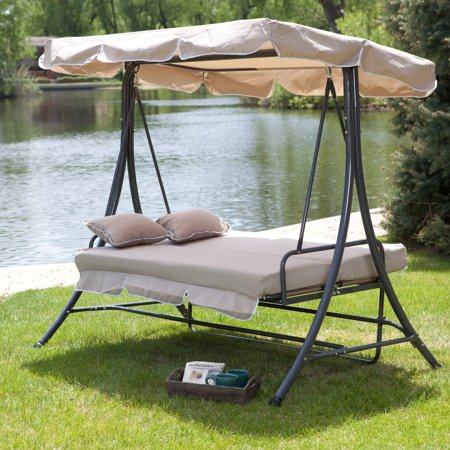 Coral Coast Lazy Caye 3 Person All Weather Swing Bed With Toss Pillows   Cappuccino
