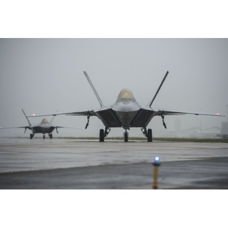 Laminated Poster F 22 Raptors Taxi Down The Runway At Langley Air Force Base  Va   Oct  1  2015  Due To Projected Tid Poster Print 24 X 36