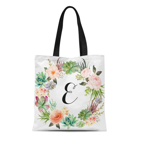 ASHLEIGH Canvas Tote Bag Wreath Personalized Tote Floral Bridesmaid Monogram Reusable Handbag Shoulder Grocery Shopping Bags](Personalized Bridesmaid Bags)