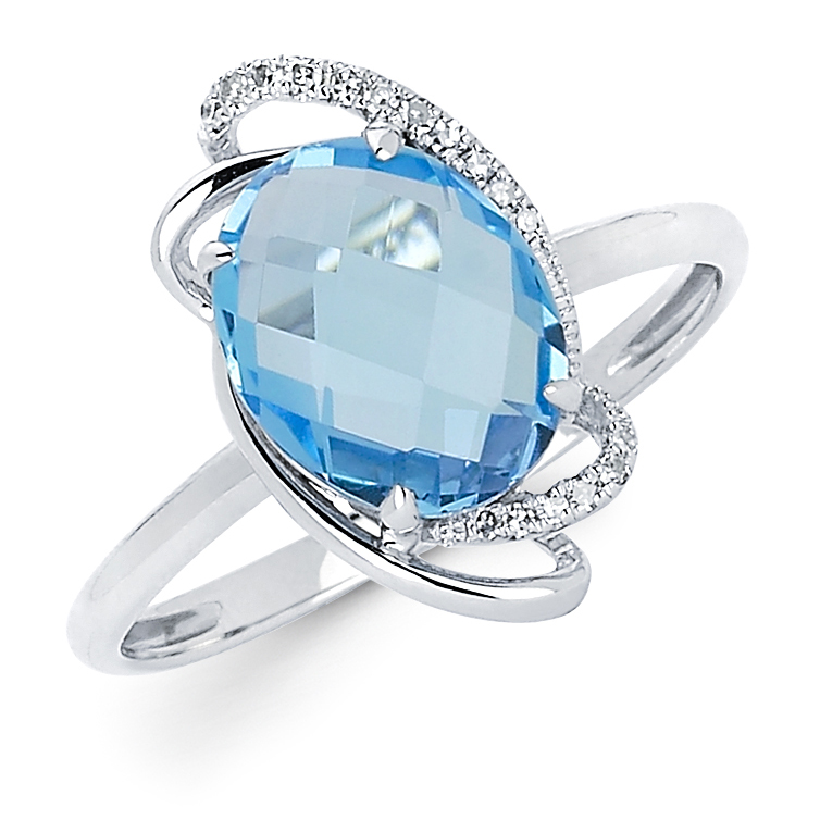 14K WHITE GOLD 2.49CTW DIAMOND AND BLUE TOPAZ RING by
