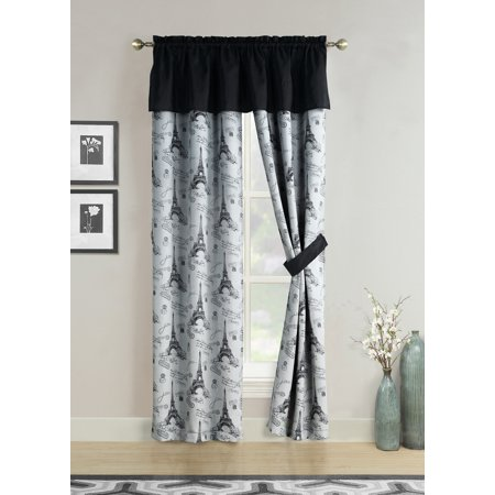 Window Curtains Black Gray Paris Eiffel Tower French Script Valance Panel Pair Drapes, 84