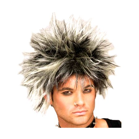 Adult Womens Black and Blonde Spiked 80s Punk Costume Wig for $<!---->