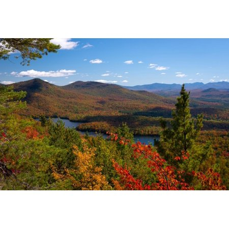 View of McKenzie Pond from Mount Baker, Adirondack Mountains State Park, New York State, USA Print Wall Art (Adirondack Wall)