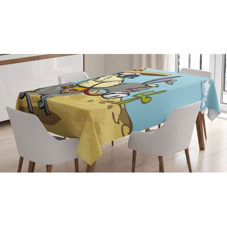Cartoon Tablecloth, Mexican Man Wearing Sombrero Hat Riding a Donkey in the Desert with Cactus Plants, Rectangular Table Cover for Dining Room Kitchen, 52 X 70 Inches, Multicolor, by Ambesonne
