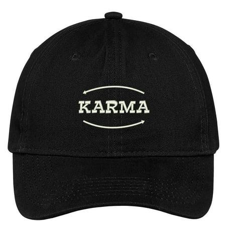Stone Column Caps (Trendy Apparel Shop Karma Embroidered Soft Low Profile Adjustable Cotton Cap )