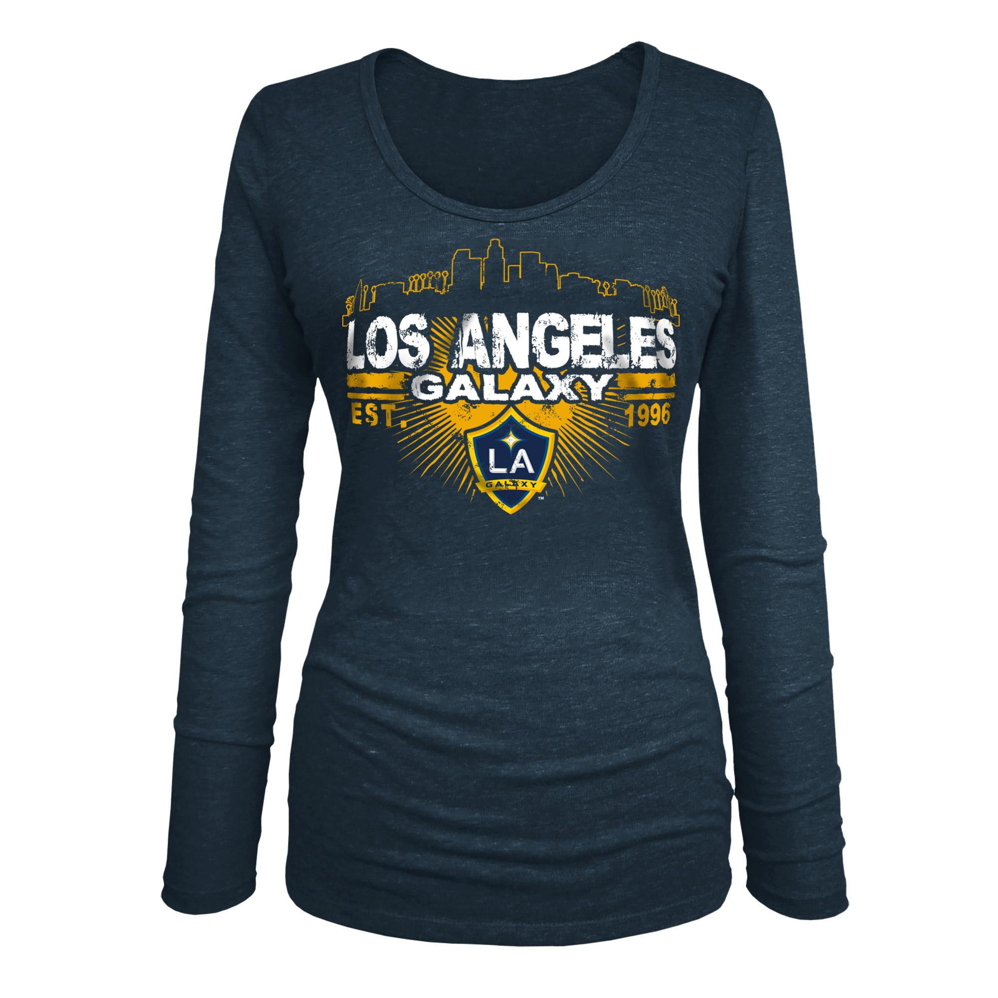 LA Galaxy 5th & Ocean by New Era Women's Tri-Blend U-Neck Long Sleeve T-Shirt - Heather Navy