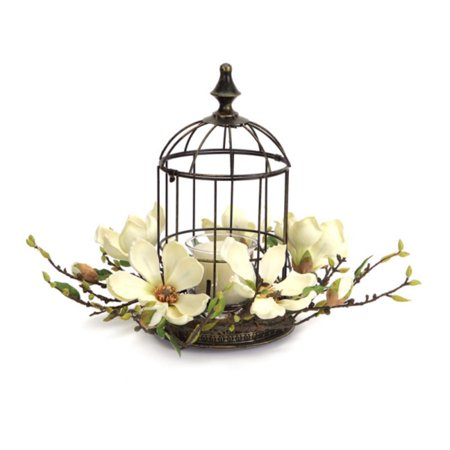 "15"" Elegant Magnolia Flower Bird Cage Votive Candle Holder with Glass Globe"
