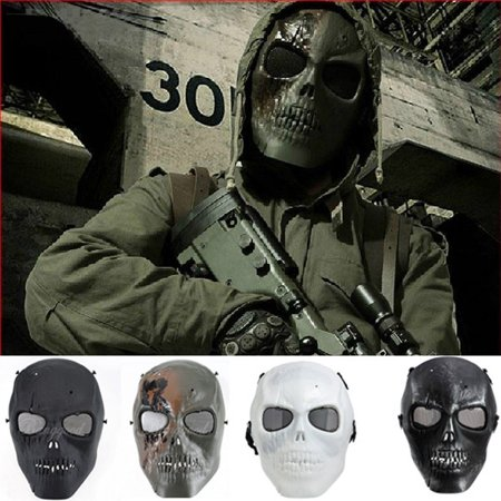 Tactical Airsoft Mask Overhead Skull Skeleton Full Face Protection Safety Guard Outdoor Paintball Hunting Cs War Game Combat Protect for Party Movie Props Sports Activity (Cycle Products Skull Face Mask)