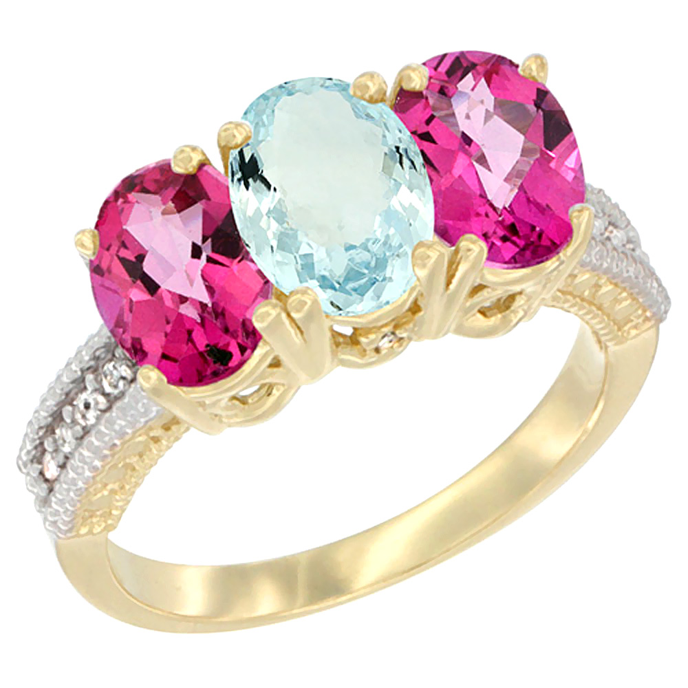 14K Yellow Gold Natural Aquamarine & Pink Topaz Sides Ring 3-Stone 7x5 mm Oval Diamond Accent, sizes 5 10 by WorldJewels