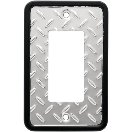 Franklin Brass Diamond Plate Single Decorator Wall Plate in Polished Chrome ()