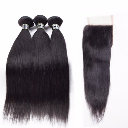 Beroyal Straight Hair 3 Bundles with Closure Free Part Indian Virgin Human Hair Weave, 16