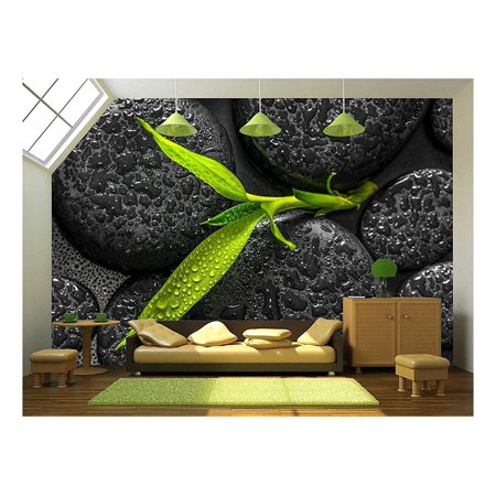 wall26 - Top Down Closeup Beautiful Spa Composition of Green Branch Bamboo on Zen Basalt Stones - Removable Wall Mural | Self-Adhesive Large Wallpaper - 66x96 inches](Wallpapers Of Deadpool)