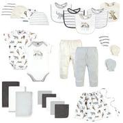 Hudson Baby Infant Boy Layette Start Set Baby Shower Gift 25pc, Modern Neutral Safari, 0-6 Months