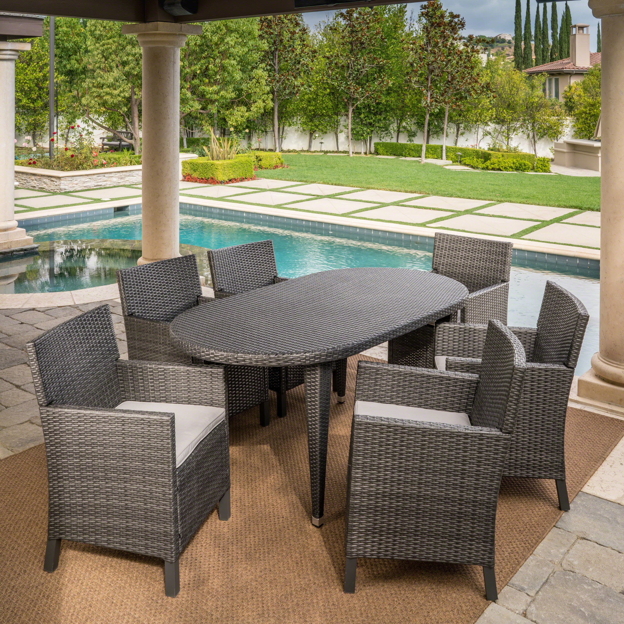 Shaw Outdoor 7 Piece Wicker Oval Dining Set With Cushions