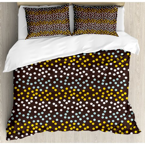 Ambesonne Galaxy Stars Like Polka Dots Circles Rounds in a Row Art Print Duvet Cover Set