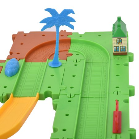 Costway 77PCS B/O Kids Child Plastic Brick Toys Electronic Building Blocks Railway Train - image 8 de 9