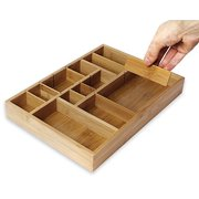 Juvale Kitchen Drawer Organizer with Removable Dividers - Silverware Organizer - Cabinet Organizer for Utensils and Cutlery - Utility Drawer, Bamboo, 14 x 10 x 2 Inches