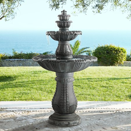 "John Timberland Hampton 56 3/4"" High Slate 4-Tier LED Outdoor Floor Fountain"