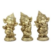 "Ebros Hindu Elephant God Ritual Dancing Ganesha Golden Statue 6"" H Deity of Arts Wisdom and Knowledge Decor Figurine (Set of Three Ganeshas)"