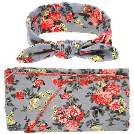 (Newborn Baby Sleep Swaddle Sack Wrapped Blanket & Rabbit Ears Elastic Flowers Bowknot Headband Set (Grey))