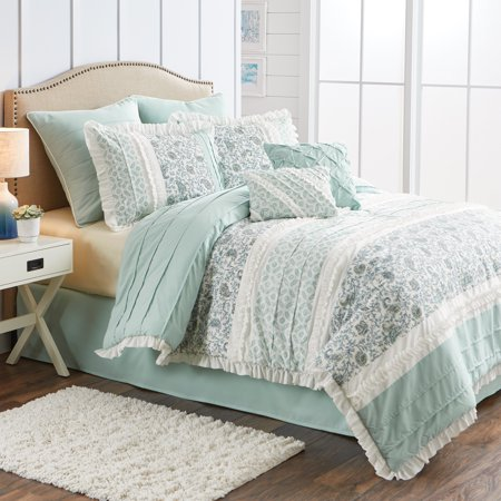 Better Homes & Gardens Full or Queen Cottage Floral Comforter Set, 8 Piece ()