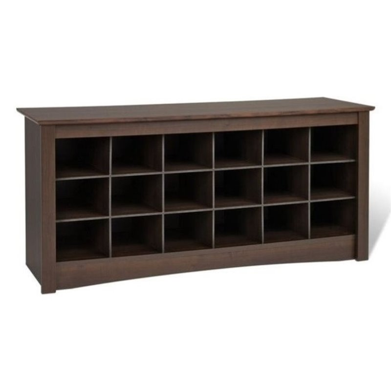 Bowery Hill 18 Cubby Shoe Storage Bench in Espresso