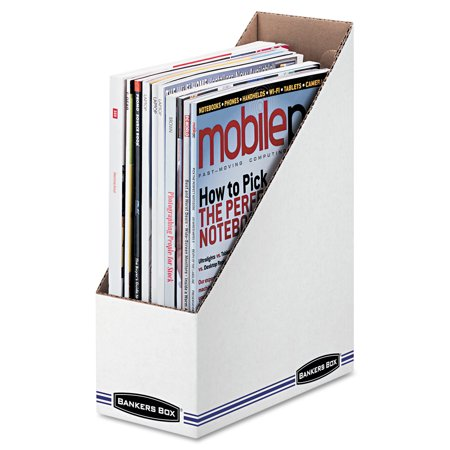 Bankers Box Corrugated Cardboard Magazine File  White  12 Carton