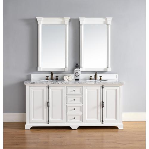 James Martin Furniture  Providence Cottage White Wood 72-inch Double Vanity Cabinet