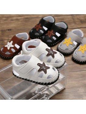 Newborn Baby Boys Soft Sole Leather Crib Shoes Anti-slip Sneaker Prewalker 0-18M